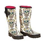M&F Western Size 9 Rain Boots Womens Cream Sugar Skull Round Toe Leg