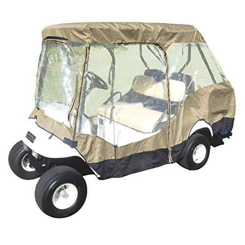 Formosa Covers Premium Tight Weave Golf Cart Driving Enclosure 2 Passenger Front Seat+ 2 Passenger Bench roof up to 58' - New Stronger YKK Door Zipper