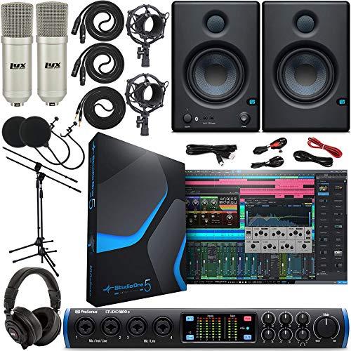 PreSonus Studio 1810c 18x8 USB Type-C Audio/MIDI Interface with Studio One 5 Creative Software, Eris E4.5 BT Pair Studio Bluetooth Monitors and 2 Condenser Microphones Kit