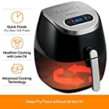 Rosewill Electric Digital Air Fryers 3.7 Quarts with LED Touch Display, 1350 watt Power, Timer and Temperature Control Frying w/Low Fat, Oil Free, Black, RHAF-17001