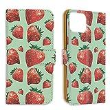 手帳型 ミラータイプ スマホケース iPhone 12 6.1インチ 用 ストロベリー・グリーン 苺 strawb……