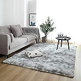 junovo Fluffy Soft Bedroom Rug for Kids Nursery Girls Boys Ultra Comfy Shag Fur Carpets Nursery Room Living Room Furry Decor Rugs, 4 ft x 6 ft, Grey
