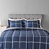 Amazon Basics 7-Piece Light-Weight Microfiber Bed-in-a-Bag Comforter Bedding Set - Full/Queen, Navy with grey Plaid