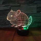 Conejo 3D Lámpara de mesa de siete colores Carga visual creativa Regalo de Navidad para niños Lámpara de mesa 3D Dibujos animados encantadores Juguetes de regalo de Navidad para niños