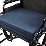 DMI Seat Cushion for Wheelchairs, Mobility Scooters, Office & Kitchen Chairs or Car Seats to Add Support & Comfort while Reducing Pressure & Stress on Back, 4' thick, 16 x 18, Navy Blue