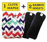 Babymoon (Set of 3-1 Cloth Diaper with 2 5Layesr Bamboo Insert) Premium Adjustable Reusable Washable Cloth Diaper for Baby