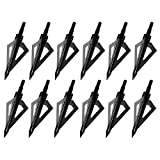 Sinbadteck Hunting Broadheads, 12PCS 3 Blades Archery Broadheads 100 Grain Screw-in Arrow Heads Arrow Tips Compatible with Crossbow and Compound Bow (Black)