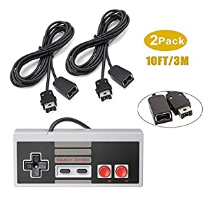 Extension Cables for Controller: Supplies 2 pack of extension cords and 1 Mini NES Classic Controller. Extension cables are compatible with NES SNES Classic Mini Edition controllers, NES Classic Mini Edition and Wii remote controller, Wii nun chuck c...