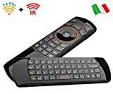 Rii Mini i25 Wireless + IR (Layout Italiano) - Mini Tastiera con Mouse giroscopico e Telecomando infrarossi programmabile per Smart TV e TV Box Android, Mini PC Windows, Mac e Linux.