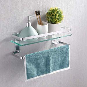 KES Bathroom Glass Shelf with Anodized Aluminum Towel Bar and Rail Extra 8 MM-Thick Tempered Glass Rustproof Retangular Storage Organizer Wall Mount Silver, A4127A