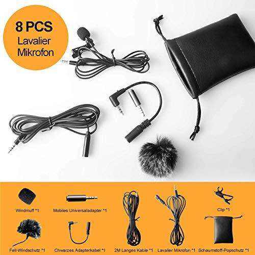Tiisen Lavalier Mikrofon 8 PCS,Kondensator Mikrofon Perfekt für iPhone,Android,Kamera, PCs, Laptops, DV-Camcorder und Revers Mikrofon für YouTube, Interviews, Spiele, Videoaufnahmen