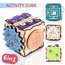 BrainUpToys Busy Activity Cube Travel Activities for Toddlers Kids Children Baby – Busy Board for 1 Year Old – Wooden Sorter Toy – Montessori Toy – Toy Cubes – Learn to Tie Shoes – Lacing