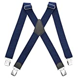 HBselect Bretelles Homme Larges Réglable Élastique Extra Fort 4 Clips en forme X,Bretelles Homme Larges et Vintage