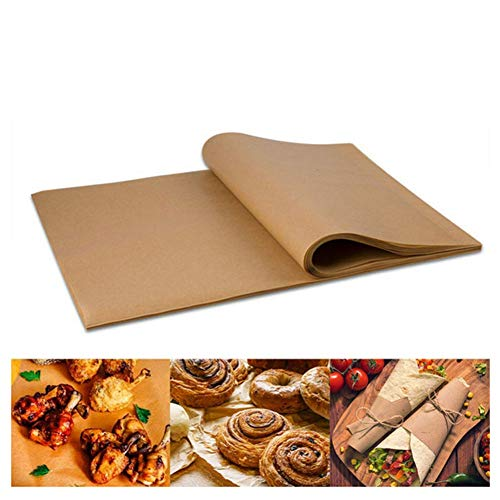 100 Pcs Natural Color Baking Paper Barbecue Silicone Oil Paper Non-Stick Bakeware Parchment Paper Sheets for Air Fryer, Cooking, Baking Cookies 11.8x15.8 Inch