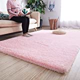 Noahas Super Soft Modern Shag Area Rugs Fluffy Living Room Carpet Comfy Bedroom Home Decorate Floor Kids Playing Mat 6 Feet by 9 Feet, Pink