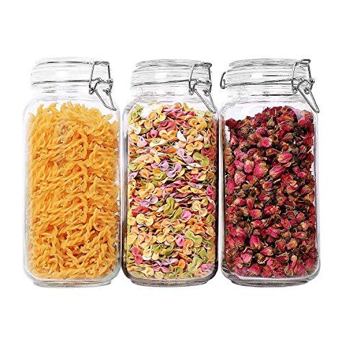 ComSaf 2300ML Botes de Cristal con Tapa - Conjunto de 3, Tarrors de Cristal Sellado Recipiente Hermético Transparente Envase para Pasta, Conservas, Especias, Azúcares, Café, Alimentos