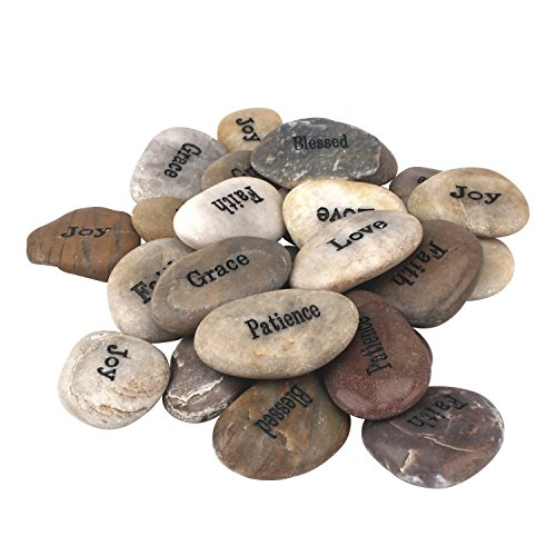 Stonebriar Inspirational Polished River Stones, Unique and...