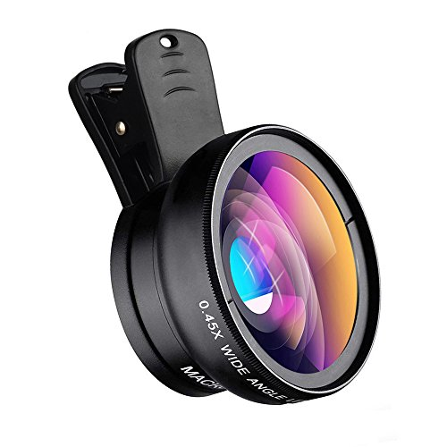 Apexel Universal Phone Cameras Kit Obiettivo 0,45X Obiettivo grandangolare 140 + 12,5X Obiettivo Macro Obiettivo Clip-on per iPhone 8 7 6 Plus Samsung e la Maggior Parte degli Smartphone Android
