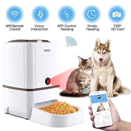 Iseebiz 6L WiFi Kamera Automatischer Futterautomat für Hunde, Katzen, Kaninchen und Kleintiere, Automatisierte Futterspender mit bis zu 6 Mahlzeiten am Tag