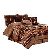 Chezmoi Collection Sedona 7-Piece Southwestern Wild Horses Microsuede Bedding Comforter Set (King)