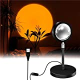 Sunset Projection Lamp, LED Rotación 180° Romántico Visual Proyector de puesta de sol, USB lámpara de pie moderna, lámpara de noche para salón (Atardecer)