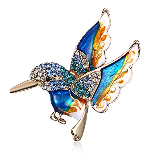 Colorful Crystal Zircon Hummingbird Animal Brooch
