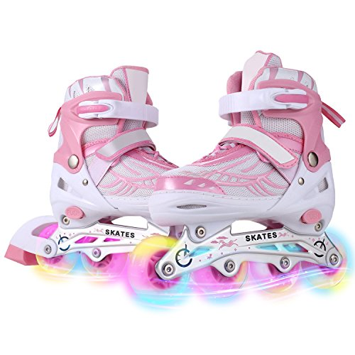 Dongchuan Inline Skates Women/Men Adjustable Size 5-8 Kid 12J-2/2-5 for Boys Girls Aggressive Roller Skates with LED PU Wheels Durable Outdoor/Indoor Gift Toddlers/Teen