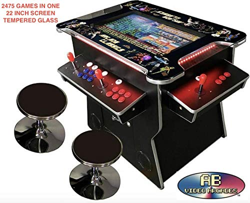 ABVIDEO-INC-Exclusive-2475-Games-Huge-22-inch-Screen-SI-Graphics-Not-19-inches-Pair-of-Stools-4-Player-Cocktail-Arcade-Machine-2475-Classic-Games-150-pounds-Commercial-Grade