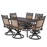 Laurel Canyon Outdoor Dining Set, 7 Piece Cast Aluminum Furniture, 6 Patio Swivel Chairs, 36' x 60' Rectangular Table with 1.97' Umbrella Hole for Yard Garden Deck, Dark Brown