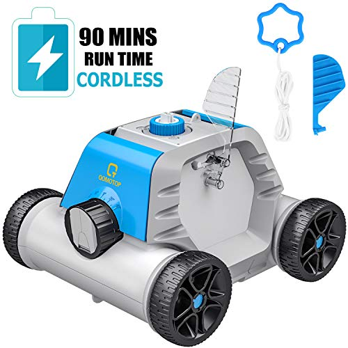 OT QOMOTOP Robotic Pool Cleaner, Rechargeable Cordless Design, 90 Mins Working Time, IPX8 Waterproof, Power Detection Technology, Built-in Water Sensor Technology …
