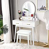 Vanity Desk with Lighted Mirror, Makeup Vanity Dressing Table with Lights, 3 Color Lighting Modes Adjustable Brightness, 4 Drawers Makeup Table with Cushioned Stool for Bedroom - White