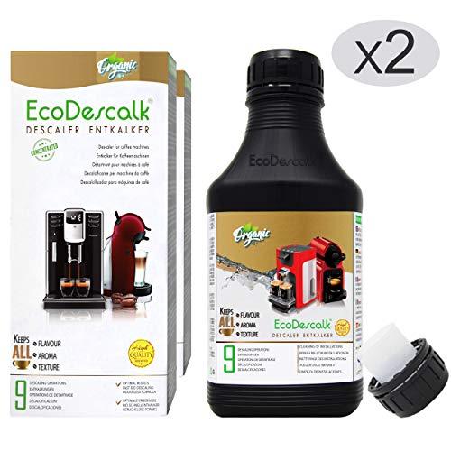 EcoDescalk Biologico Concentrato (2x9 Decalcificazioni). Decalcificante 100% Naturale. Detergente...