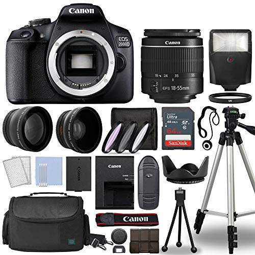 Canon EOS 2000D / Rebel T7 Digital SLR Camera Body w/Canon EF-S 18-55mm f/3.5-5.6 is STM Lens 3 Lens DSLR Kit Bundled with Complete Accessory Bundle + 64GB + Flash + Case & More - International Model