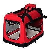 Transportín para perros Bolsa transportín para perros Transportín plegable Autobox Bolsa para animales pequeños (82x58x58 cm (XL), rojo)