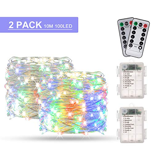 Stringa Luci Led, BAKTH 2 x 10M 100LED Catene Luminose Luci LED Impermeabile IP67 per interni/esterni/Natale/Matrimonio e camera da letto, Multicolore 8 Modalit