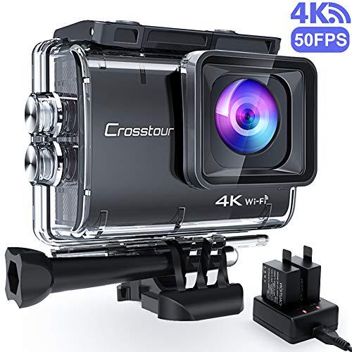 Crosstour CT9500 Echte 4K/50fps Action Cam Unterwasserkamera (4K 20MP WiFi Unterwasser 40M Wasserdicht Anti-Shake Helmkamera 2 1350mAh Akkus)