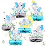 6 PCS Blue Elephant Honeycomb Centerpieces Baby Boy It's A Boy Table Decorations Blue Little Peanut Cutouts For Blue Elephant Theme Baby Shower Birthday Party Supplies