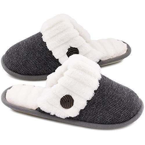 HomeTop Women's Cute Fuzzy Knitted Memory Foam...