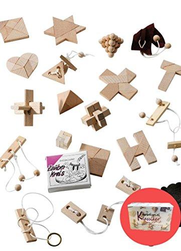 24 Knobelspiele Klassiker / Geduldspiele als Geschenk oder für Adventskalender (Set 5)