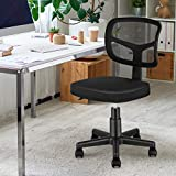 MOLENTS Armless Office Chair Mesh Desk Chair Small Ergonomic Computer Task Chair Mid Back Swivel Chair with Adjustable Height for Adults and Kids,Black No Armrest Home Office Chair for Small Spaces