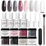 17 Pcs Dip Powder Nail Kit Starter, AZUREBEAUTY 8 Colors Acrylic Dipping Powder Kit Essential System Liquid Set with Base Coat Gel Top Activator Brush Saver for French Nail Art Manicure DIY Salon