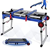 WORKPRO Miter Saw Stand, 5-in-1 Portable Workbench, Quick Folding Work Table with Detachable Miter Saw Stand & Height Adjustable Legs, Scaffold/Dolly/Creeper/Platform for Woodworking, Repair, Masonry