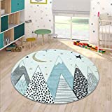 Kids Rug for Childrens Room Mountains Starry-Sky in Light Blue Gray White, Size:Ø 3'11' Round