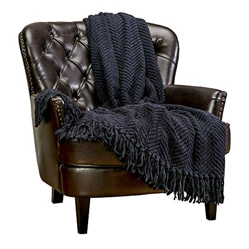 Chanasya Textured Knitted Super Soft Throw Blanket with Tassels Warm Cozy Lightweight Fluffy Woven Blanket for Bed Sofa Couch Cover Living Bed Room Acrylic Black Throw Blanket (50x65 Inches) Black
