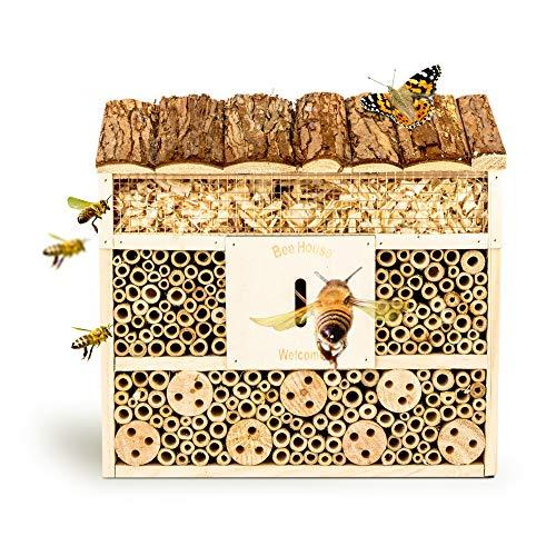 bambuswald Insektenhotel 29,5 x 10 x 28,5 cm | Bienenhotel/Unterschlupf für Insekten - Insektenhaus Naturmaterialien. Gelebter Natur- & Artenschutzfür Zuhause -NistkastenHausNützlingshotel Schutz
