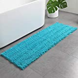 HAOCOO Bath Rug Runner Chenille Non-Slip Luxury Bath Mat Water Absorbent Shaggy Bathroom Rugs Machine Washable Soft Microfiber Bath Floor Rug for Tub Shower (17x47 inch, Turquoise)
