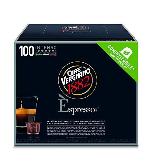 Caffè Vergnano 1882 Èspresso Capsule Caffè Compatibili Nespresso Compostabili, Intenso - Pack da 100 Capsule