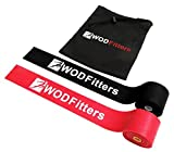 WODFitters Floss Bands for Muscle Compression Tack & Flossing, Mobility & Recovery WODs - 2 Pack with Carrying Case (Black - Red Combo, 2 Pack)