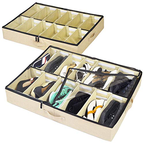 storageLAB Under Bed Shoe Storage Organizer, Adjustable Dividers...