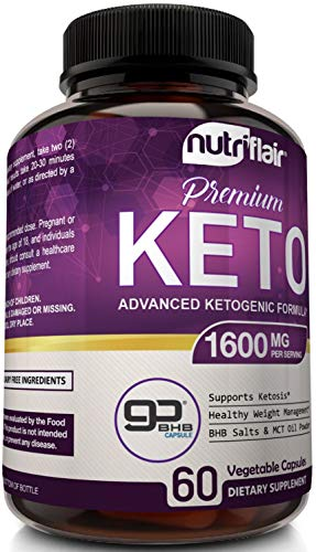 NutriFlair Keto Diet Pills 1600mg - Advanced Ketosis Supplement - Natural BHB Salts (beta hydroxybutyrate) with MCT Oil Powder, Utilize Fat for Energy, Boost Focus - Best Keto Pills for Women and Men 5